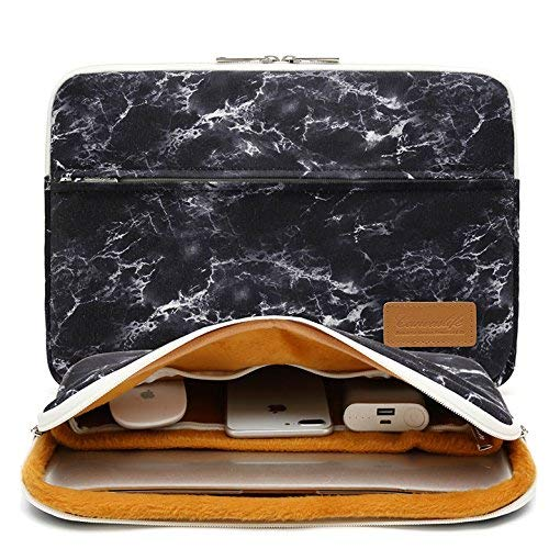 Canvaslife Black Marble Pattern 360 Degree Protective 13 inch Canvas Laptop Sleeve with Pocket 13 Inch 13.3 Inch Laptop Case