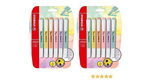 STABILO surligneur swing cool Pastel Edition, Pastell/6 Farben, 2er Pack/6er Blister: Amazon.es: Hogar