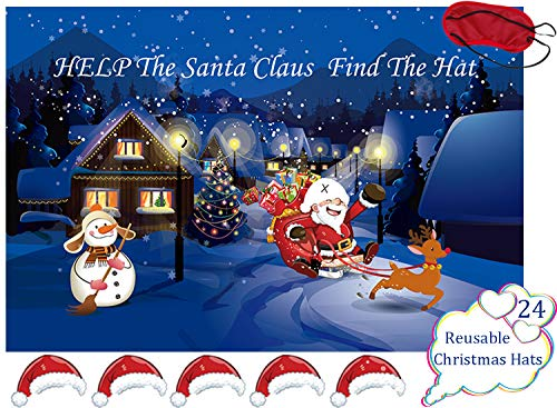 Pin The Hat On The Santa Claus Games - Kids Christmas/Xmas/Holiday/Birthday Party Decorations Supplies Decor