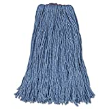 Rubbermaid Commercial Cut-End Blend Mop Heads, Blue, 24 oz, Cotton/Synthetic, 1-in. Headband - 12 wet mop heads per case.