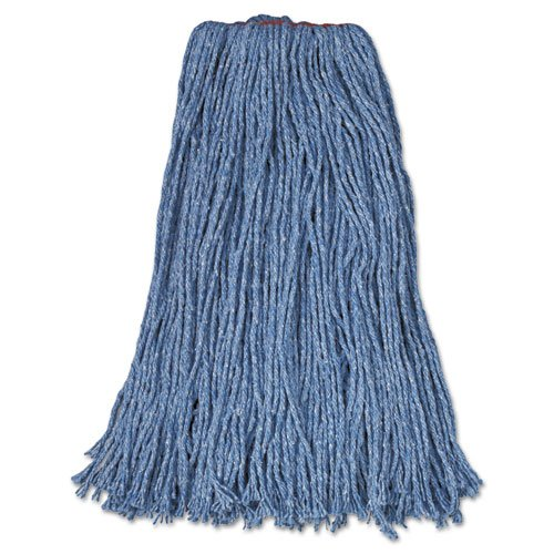 Rubbermaid Commercial Cut-End Blend Mop Heads, Blue, 24 oz, Cotton/Synthetic, 1-in. Headband - 12 wet mop heads per case. by Rubbermaid Commercial