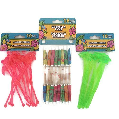 Tropical Luau Themed Swizzle Stick Party Bundle- 3 Items: One Pack Umbrella Picks, One Pack Palm Tree Stirrers and One Pack of Flamingo Stirrers ()
