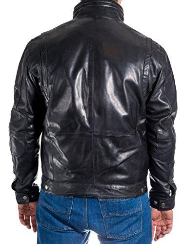 Dell'annata Classico Casuale Reale Retro Motociclista Cuoio Stile Elegante Mens Giacca Morbida Del Nero qnAISzgw