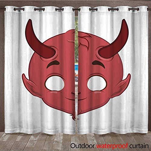 - RenteriaDecor Home Patio Outdoor Curtain Devil mask for a Series of Special Occasions W96 x L108