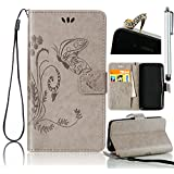 Sunroyal Huawei NEXUS 6P Embossed Butterfly Flower Wallet Case Cover , , Premium PU Leather Folio Flip Wallet Cell Phone Case Cover in Book Style with Card Slots Sleeve & Magnetic Closure & Detachable Wrist Hand Strap [ Stand Function ] + 1x Bling Sparkling Shinny Glitter Rhinestone Diamond Anti Dust Plug + 1x Metal Stylus Touch Pen , Gray Grey