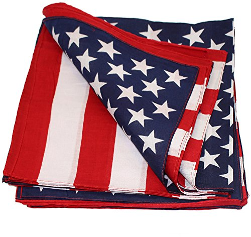 (CoverYourHair Paisley Bandanas - 12 Pack Bandanas - Bandanas with American Flag Headband (12 Pack American Flag Bandanas with American Flag Headband))