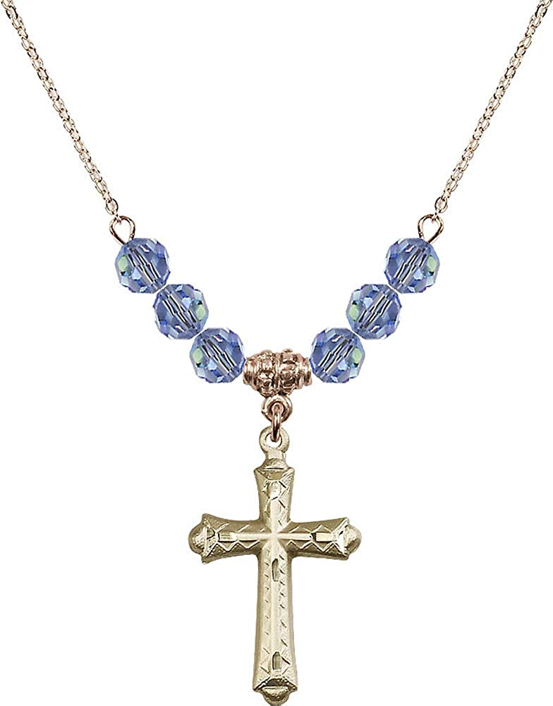 18-Inch Hamilton Gold Plated Necklace with 6mm Light Sapphire Birthstone Beads and Cross Charm.