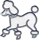 """Simplicity 1967497003JA Iron-On Applique Large Poodle Embroidery 6"""" x 6.25"""" White/Gray"""