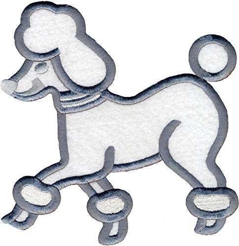 Simplicity White Poodle Dog Applique Clothing Iron On Patch, 6