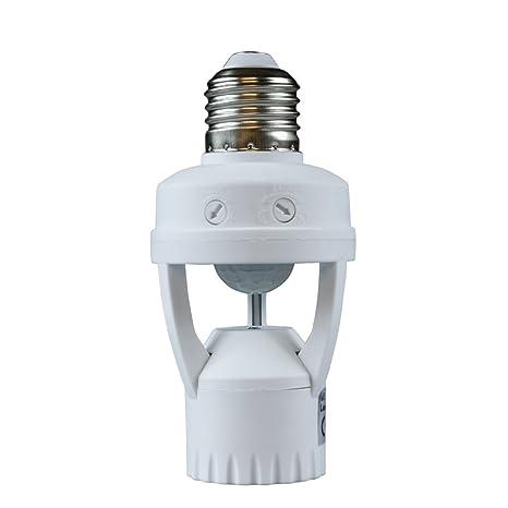 Hirate E26 PIR infrarrojo Sensor de movimiento inteligente automático LED bombilla luz lámpara soporte de 360 ...