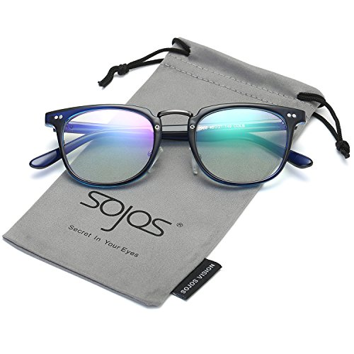 SojoS Square Reading Glasses Optical Frame Clear Lens Eyewear Eyeglasses for Men and Women SJ6005 With Blue - Optical Glasses Mens