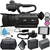 JVC GY-HM170UA 4KCAM Compact Professional Camcorder with Top Handle Audio Unit + BNV-F823 Replacement Lithium Ion Battery + Professional 160 LED Video Light Studio Series Bundle