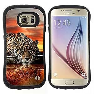 """Pulsar iFace Series Tpu silicona Carcasa Funda Case para Samsung Galaxy S6 , Leopard Espejo de Agua Arte puesta del sol del gato grande"""""""
