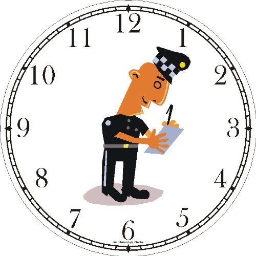 Amazon.com: Police Officer or Policeman Writing Ticket Wall Clock by WatchBuddy Timepieces (Hunter Green Frame): Home & Kitchen