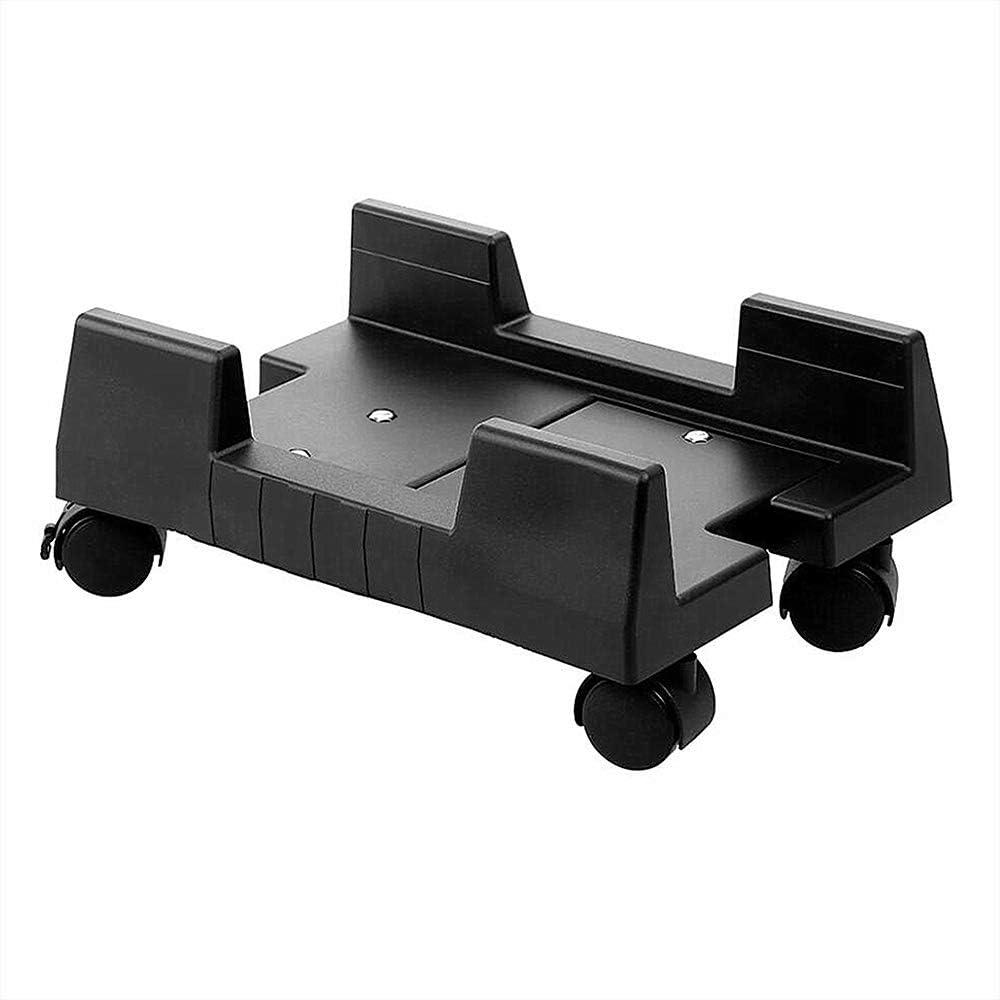 Godyluck- Mobile Desktop Computer Floor Stand Rolling Wheels Adjustable Width PC Tower Holder (Black)
