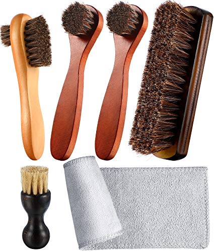 Cheap Youngjoy 6 Pieces Horsehair Shine Shoes Brush Kit Polish Dauber Applicators (B) boot brushes
