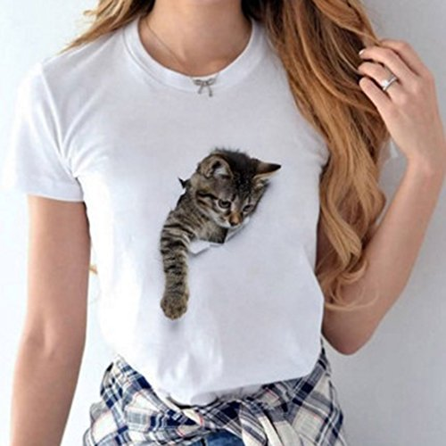 GUAngqi Cute 3D Cat Printing Men and Women T-shirt Summer Fashion Round Neck Pullover Casual Slim Couples T-shirt,Black Cat Female 10L
