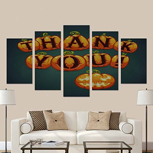 InterestPrint Halloween Pumpkin Says Thank You Modern Home Decor Stretched Canvas Wall Art Prints (No Frame) 5 Pieces -
