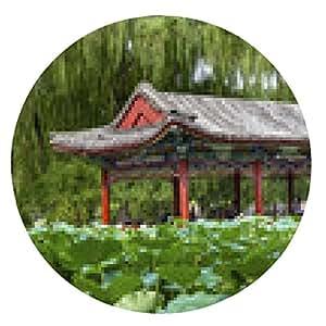 alfombrilla de ratón Rojo Pabellón Lotus Temple Garden of Sun City Park Beijing, China - ronda - 20cm