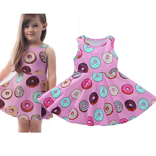 YOUNGER TREE Toddler Girls Donut Dress Doughnut Print One-Piece Skirt Sleeveless Princess Floral Dress (12-18 Months, Donut Print Floral Dress) -