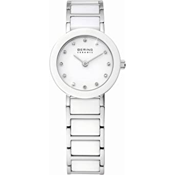 bering ceramic reloj de cuarzo para mujer con correa de cermica color blanco