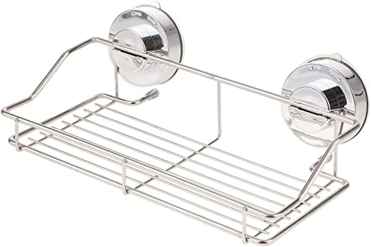 Shower Storage Shelf Basket With Suction Cup Stainless Steel Chrome Storage Basket and Shelf for Shampoo Conditioner, Soap, Bathroom Kitchen Holder