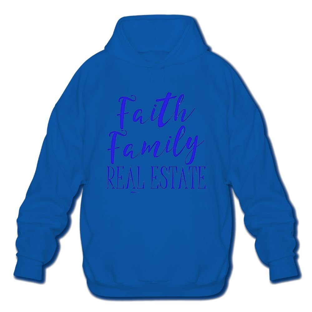 Sweatshirt Mens Long Sleeve Cotton Hoodie Faith Family Real Estate 1