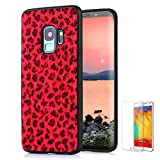 For Samsung Galaxy S9 Plus Case [with Free Screen Protector],Funyee New Creative Leopard Print Plush Flexible Soft TPU Silicone Shockproof Ultra Thin Durable Phone Case for Samsung S9 Plus,Red