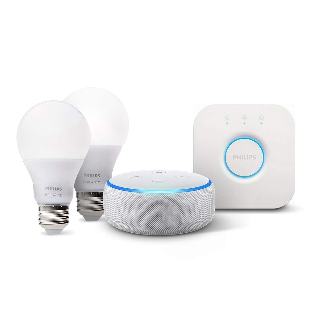 Echo Dot (3rd Gen) - Sandstone with Philips Hue White Smart Light Bulb Starter Kit (All U.S. Residents)