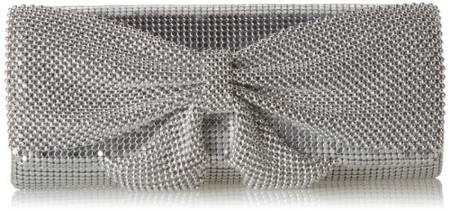 Jessica McClintock womens Hailey Bow Clutch, silver, One Size (Mesh Clutch Sequin)