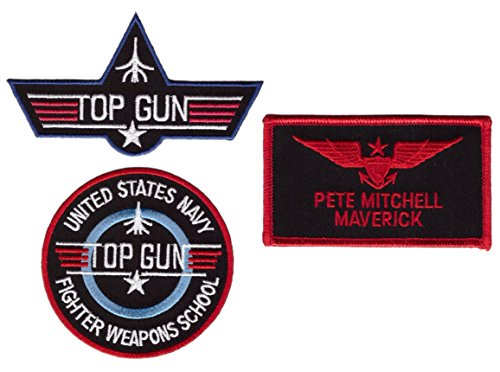 Maverik Top Gun School Name Badge Costume Patch 3 pcs Set (Halloween Costumes Offensive)