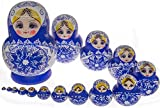 Moonmo 15pcs Beautiful Handmade Wooden Russia Nesting Dolls Gift Russian Nesting Wishing Dolls Blue and White Colorful Porcelain Matryoshka Traditional
