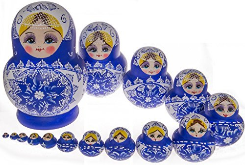 Moonmo 15pcs Beautiful Handmade Wooden Russia Nesting Dolls Gift Russian Nesting Wishing Dolls Blue and White Colorful Porcelain Matryoshka Traditional by Moonmo (Image #1)