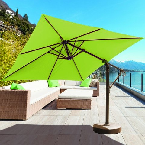 Galtech International 897AB51 Cantilever - 10' x 10' Square Easy Lift and Tilt Umbrella, Choose Fabric Color: 51: Canvas, Choose Pole Finish: AB: Antique Bronze ()