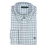 Southern Marsh Men's Chambers Performance Gingham Long Sleeve Shirt, Slate/Mint, Medium