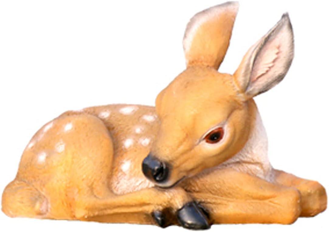DFNPL Fawn Statue,Outdoor Sika Deer Figurines Garden Parent Child Deer Sculpture Courtyard Simulation Resin Animal Crafts Lawn Decoration-C 2314cm