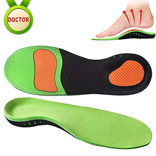 WELAN Shoe Insoles, Arch Supports Insoles - Relieve Foot Pain, Flat Feet, High Arche, Shoe Insoles Gel Plantar Inserts Orthotic Inserts Professional Doctor Recommends for Women Men Kids (Green,L)