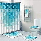 Bathroom 5 Piece Set shower curtain 3d print Multi Style,Abstract,Old Checkered Tartan Pattern Scottish Royal Folk Culture Stripes Ethnic Image,Taupe Coral,Bath Mat,Bathroom Carpet Rug,Non-Slip,Bath T