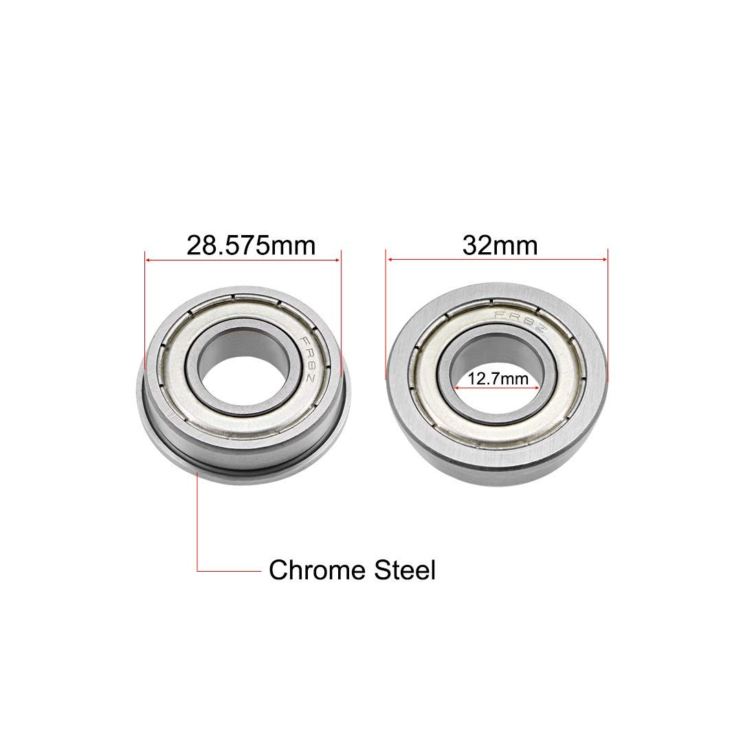 16 inches 4 Pieces FR8ZZ flanged Ball Bearings 1//2 inch Shielded Chrome Bearings x1-1//8 inches x5