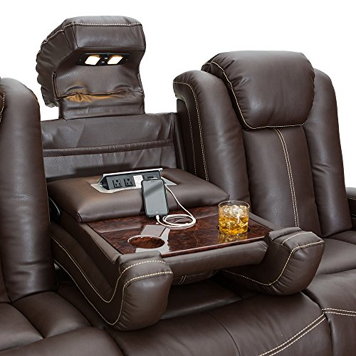 Seatcraft Republic Leather Home Theater Seating Power