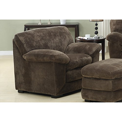 Emerald Home Devon Mocha Accent Chair And Ottoman with 8 Way Hand Tied Springs And Easy Clean Microfiber Upholstery