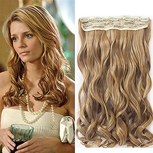 """Neverland Beauty 22"""" 3/4 Full Head One Piece Clip in Wavy Curly Hair Extensions Honey Blonde"""