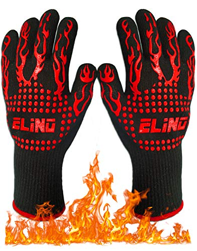 Heat Resistant Gloves for BBQ Glove Grilling Cooking Hot Ovens Gloves Protect Your Hands from Extreme Heat Double Layered Fireplace Gloves Without Fear 100% Cotton Inner (1 Pair) 932°F (30 cm)