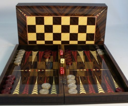 19 in. Floral Wooden Backgammon Set with Chessboard by World Wise Imports by World Wise Imports
