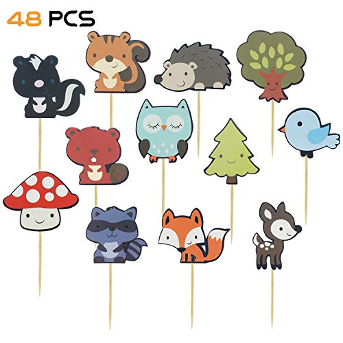 V-fox 48 Counts Woodland Party Cupcake Toppers Forest Animal