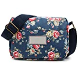 Oflamn Roomy Pockets Series Small Crossbody Bag Cell Phone Purse Wallet For Women (Blue Rose Blooms)