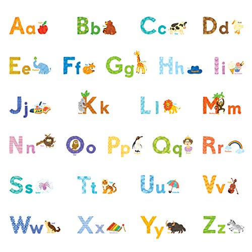 Decowall DW-1608S Watercolour Animal Alphabet ABC Kids Wall Decals Wall Stickers Peel and Stick Removable Wall Stickers for Kids Nursery Bedroom Living Room by Decowall
