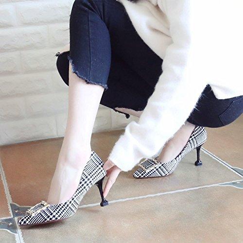 Xue Qiqi Pumps Fein mit High Heels Mode Buchstabiere Farbe Weibliche Schuhe Tipp im Licht der Einzigen Schuhe Frauen Schuhe zu Binden36|Beige