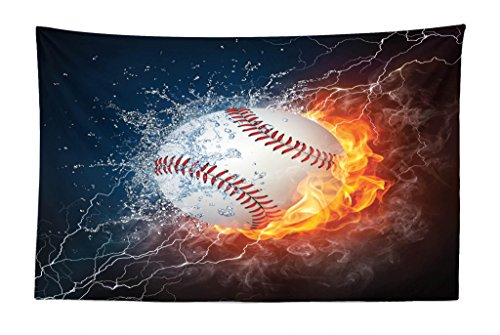 Lunarable Sports Tapestry, Baseball Ball on Fire and Water Flame Splashing Thunder Creative Art, Fabric Wall Hanging Decor for Bedroom Living Room Dorm, 45 W X 30 L inches, Dark Blue Orange Burgundy