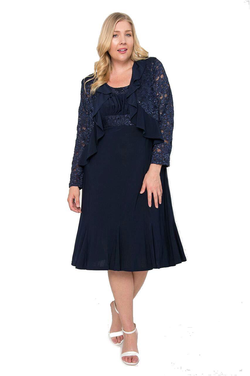 R&M Richards Short Plus Size Mother of The Bride Dress - Navy - 14W